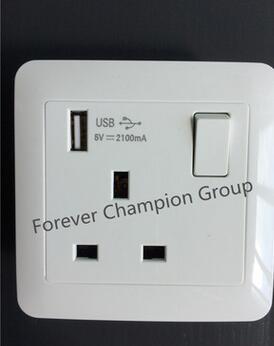 带开关13A英标插座带双USB充电方脚方孔开关面板香港英式英规插座