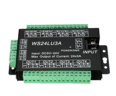 厂家直销LED控制器WS24LU3A解码器24通道RGB灯带模组控制器DMX512