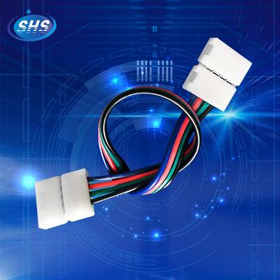 供应 LED灯带线 5050RGB10mm灯条免焊连接器 4P双头免焊连接线