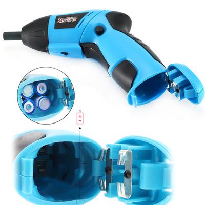 厂家直销 充电式电动螺丝刀 泡壳蓝色家用办公迷你电钻 一件代发