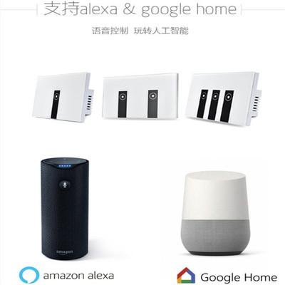 亿皆联wifi智能开关亚马逊Alexa语音控制开关美规3路零火触摸面板
