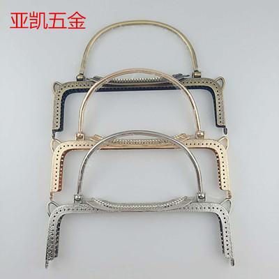 现货 22Cm方形压花盖头口金 铁手挽口金 手挽五金 古铜 浅金 银色