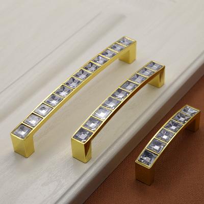 水晶拉手U型现代简约抽屉鞋柜橱柜柜门钻石双孔把手厂家低价批发