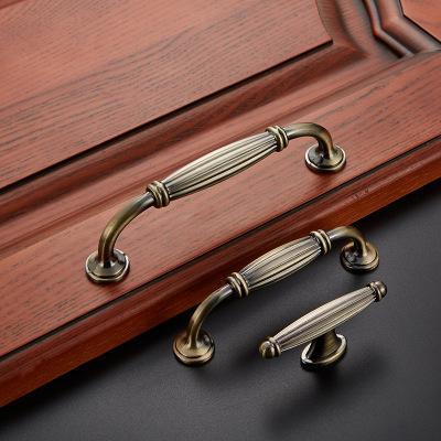 仿古拉手古铜欧式柜门抽屉锌合金简约衣橱柜家具单孔青古拉手把手