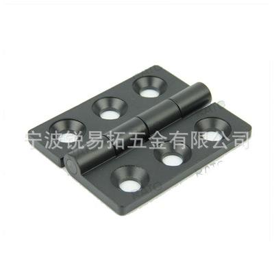 黑色喷塑 工业锌合金铰链6孔合页电柜门开关门对接铰链