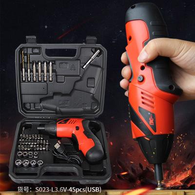 锂电电动螺丝刀 充电螺丝批 USB线家用电动工具套装 拧螺丝批发