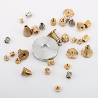 厂家滚花铜螺丝铜卡件铜嵌件注塑铜螺母镶件套装五金配件
