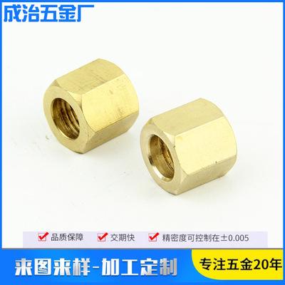 供应电子执行器六角铜螺母 医疗工业用品 黄铜镶嵌非标六角螺母