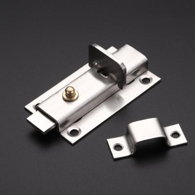 不锈钢4寸加厚自弹插销 带按钮自动弹力弹簧不锈钢插销锁厂家直销
