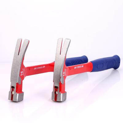 三轮五金工具锤子建筑装修榔头防滑起钉铁锤带磁吸钉包塑 羊角锤