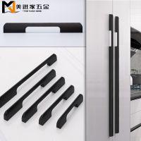 铝合金美式黑色柜门拉手现代简约一米加长大衣柜门把手鞋柜厨柜门