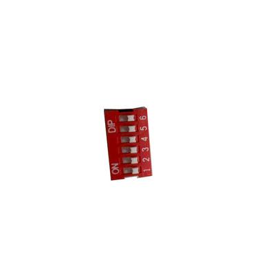 优质6P拨码开关6位平拨c脚间距2.54MM红色拨动开关直插DIP12脚
