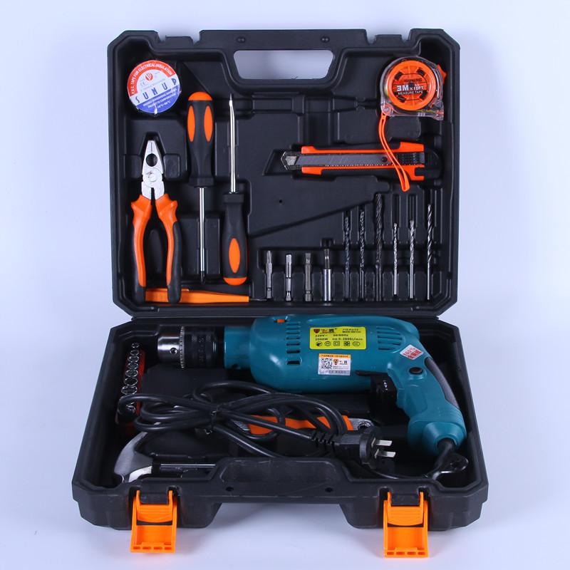厂家直销新款网销组合套装 手电钻冲击钻多功能五金工具家用套装