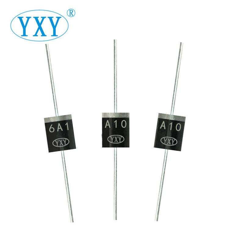 厂家直销 6A10 R-6封装 大电流 6A 1000V 插件整流二极管