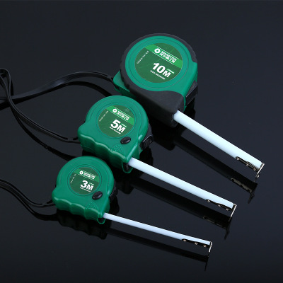 货源优德88中文客户端绿塑壳钢卷尺高耐磨工程尺家用钢卷尺加厚多功能测量工具