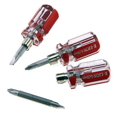 厂家透明水晶柄迷你螺丝刀十一字两用螺丝批超短起子改锥小罗卜头