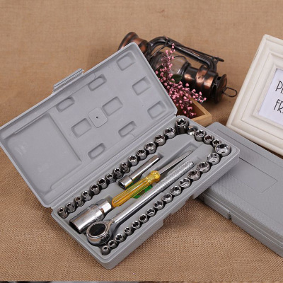汽车车载工具箱 40件套套组合工具套 组合维修工具套装 扳手套筒