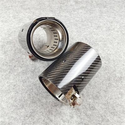 适用于宝马款尾喉排气管 碳纤维304不锈钢材质 单出直边亮壳带M标