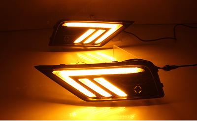 17-18款途观L日行灯 新款途观L雾灯改装LED行车灯双色/三色流光
