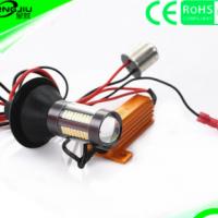汽车LED双色转向灯日行灯带解码BAU15 T20 4014 66灯PY21W转弯灯