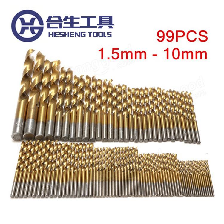 跨境批发1.5-10mm99pcs镀钛麻花钻头 木工电钻开孔器套装