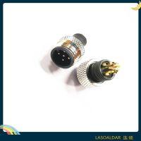 连接器M12防水插头5P五芯LED照明接头A B D X型 塑胶铝金属铜螺帽